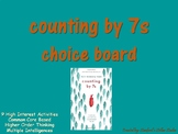 Counting by 7s Choice Board Tic Tac Toe Novel Study Activi