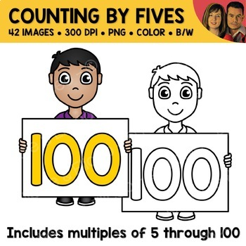 Counting by Fives Number Kids Clipart
