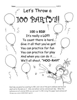 Count to 100  Home Practice Activity Great for 100th Day!