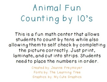 Counting by Tens- Animal Fun!