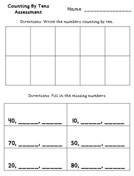 Counting by Tens Assessment {FREEBIE}