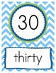 Counting by Tens Chevron Posters in Green, Orange, Blue, & Yellow