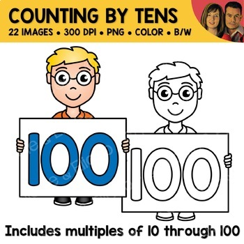 Counting by Tens Number Kids Clipart