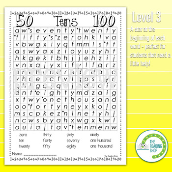 Counting by Tens Numbers Word Search Puzzle - 3 Levels Differentiated