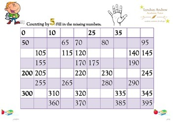 Counting by five - ordered counting