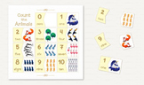 ♥ 0-10 Animals counting cards. Count the Animals. numbers cards. Arithmetic.
