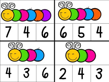 Counting caterpillars clip cards
