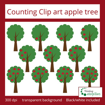 Counting clip art: apple tree