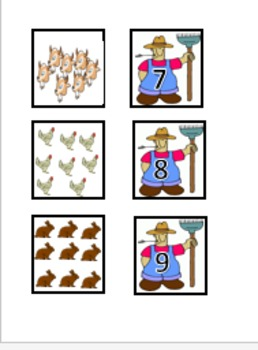 Counting farm animals file folder activity