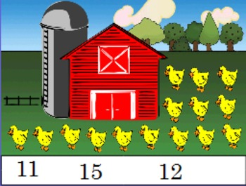 Counting farm animals with 1:1 correspondence