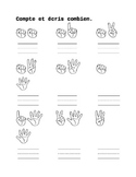 Counting fingers worksheets in French
