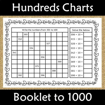 Counting from 1 to 1000 Number Chart with +- 10 Booklet: Common Core Aligned