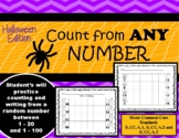 Counting from any number Halloween: Kindergarten