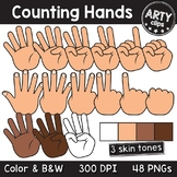 Counting hands fingers clipart - Maths BUNDLE (48 PNG) {Ar