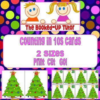 Counting in 10s Christmas Tree Cards TWO SIZES