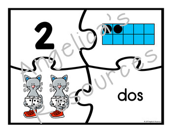 Counting in Spanish: Counting Cats Puzzles with Spanish Numbers 1-20