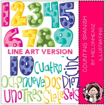 Counting clip art - Spanish - LINE ART- by Melonheadz