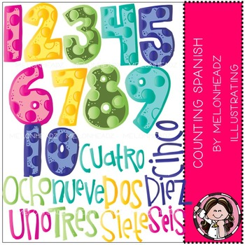 Melonheadz: Counting clip art - Spanish - COMBO PACK