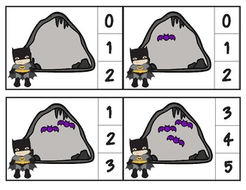 Counting in the Bat Cave Clip Cards through 20