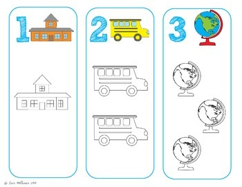 Counting mats 1-10 Back to School theme