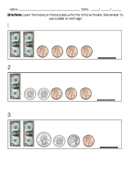 Counting money dollar and coins