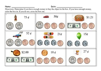 Counting money worksheet