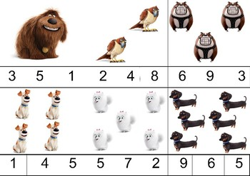 Counting/number cards page 1- Secret Life of Pets