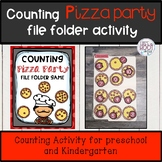 Counting numbers game file folder pizza party theme