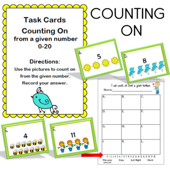 Counting on From a Given Number 0-20 Task Cards