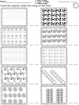 Numbers - Worksheets (Number lines, hundreds charts, and counting objects)