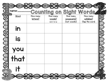 Counting on Sight Words