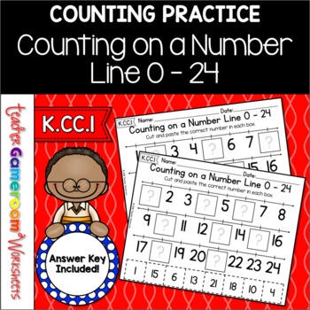 Counting on a Number Line 0 - 25 Worksheet