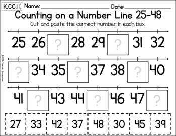 Counting on a Number Line 25 - 48 Worksheet
