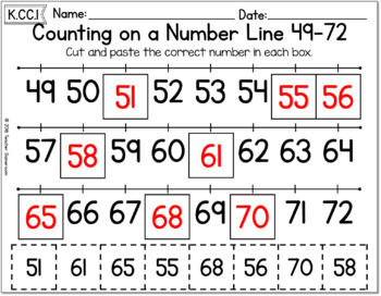 Counting on a Number Line 49-72 Worksheet