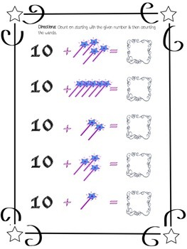 Counting on from 10 - Magical Math FREEBIE