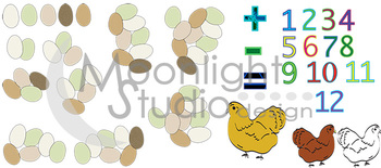 Learn to Count - on the Farm! Chickens and Eggs Clip Art!