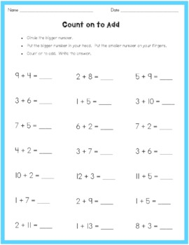 Counting on to Add worksheet