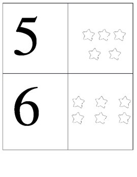 Counting one to one flashcards (stars)