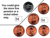 Counting pennies, nickels, dimes Powerpoint
