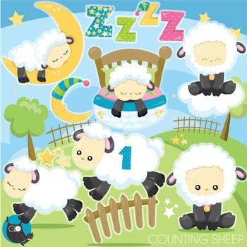 Counting sheep clipart commercial use, vector graphics, digital - CL952