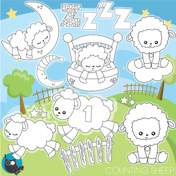 Counting sheep stamps commercial use, vector graphics, images  - DS952