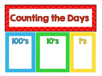 Counting the Days Place Value Chart