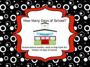 Counting the Days of School  numbers based on seasons