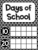 Counting the Days of School with Ten Frames - Black and White Design