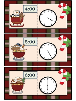 Counting the Hours for Christmas. Telling time to the hour.