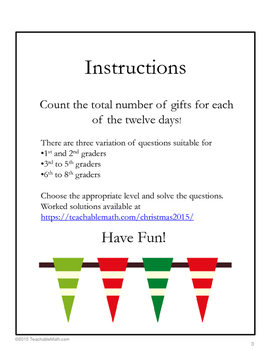 FREE Christmas Math: Twelve Days of Christmas & Triangular Numbers