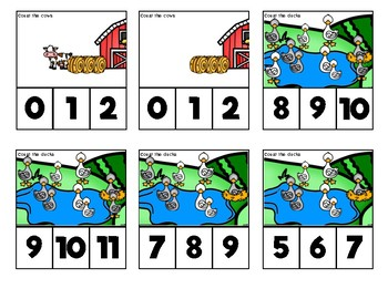 Counting to 10 Clip Cards: Farm Animals
