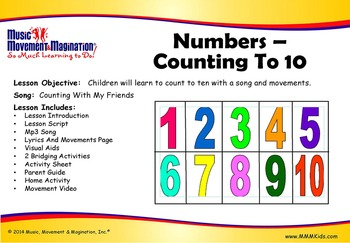 Counting to 10 - Counting With My Friends Mp3 & Lesson with Printables