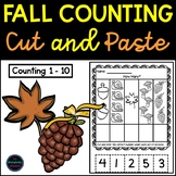Counting Objects and Ordering Numbers to 10 Cut and Paste for Fall