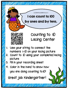 Counting to 10 Lacing Math Center